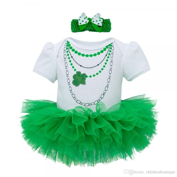 2018 St,patrick's Day Outfits Baby Girls Clothes Sets Short Sleeve