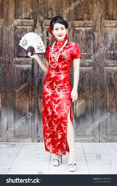 China Girl Chinese Woman Red Dress Stock Photo (edit Now