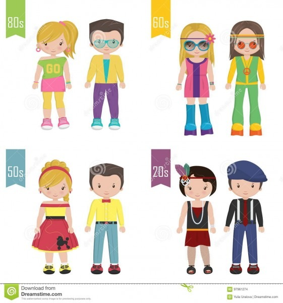 20th Century Trendy Outfits Disguise Costumes Stock Vector