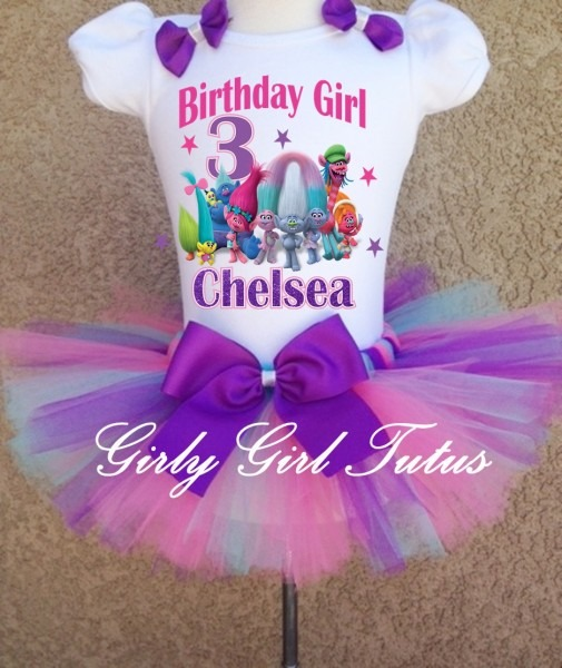 Trolls Girls Personalized Birthday Tutu Outfit Dress Set