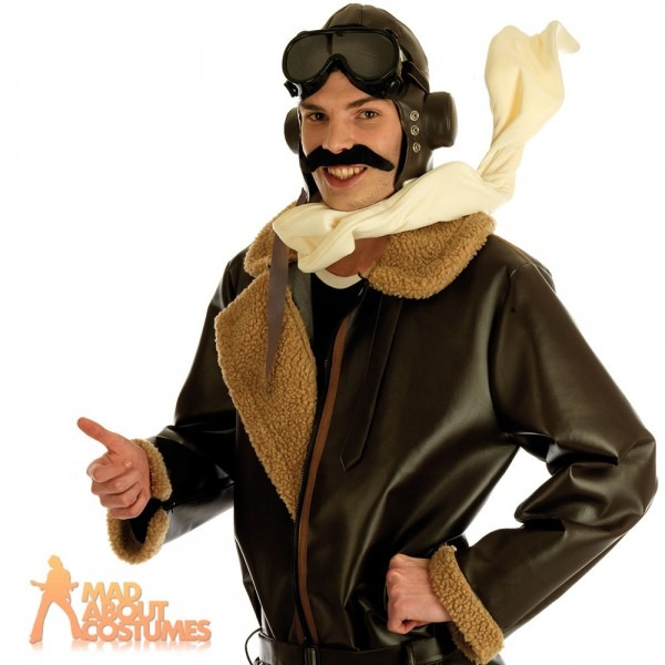 Ww2 Biggles Wartime Fighter Pilot Costume Bomber Jacket Mens Male