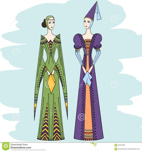Women Of The Middle Ages In Historical Clothes Stock Vector