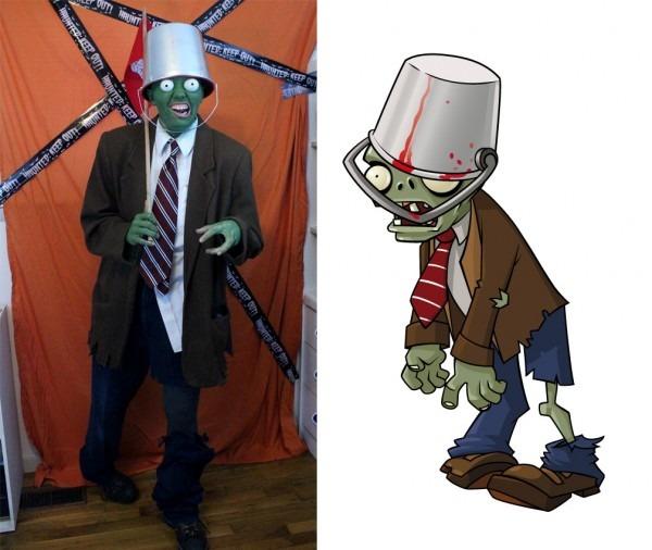 My Roommate's  Bucket Head Zombie  Costume (from Plants Vs