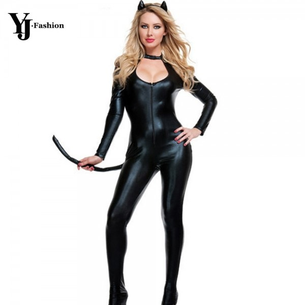 Yj Fashion Long Sleeve Halloween Costumes For Women Adult Cat