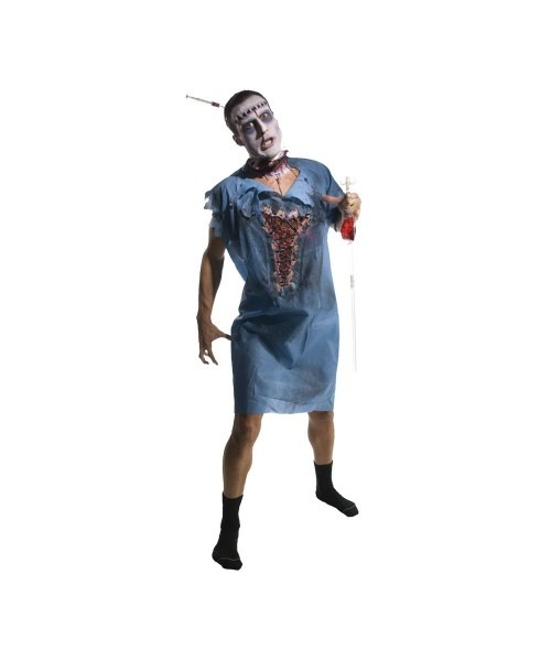 Adult Zombie Patient Gown Scary Halloween Costume