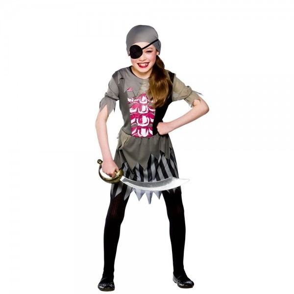 11 Scary Girl Zombie Costumes, Zombie Pirate Girl Kids Costume