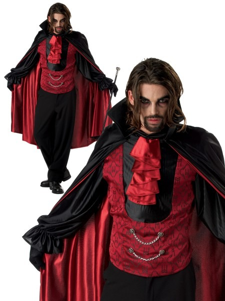 Mens Count Dracula Costume Adults Vampire Halloween Fancy Dress