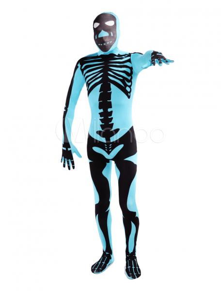 Blue Human Skeleton Lycra Spandex Unisex Zentai Suit Halloween
