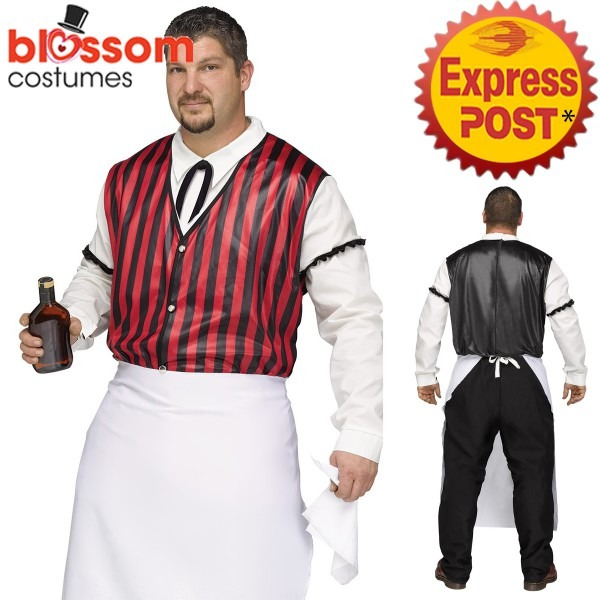 Ca535 Saloon Keeper Wild West Western Bar Bartender Plus Size Men