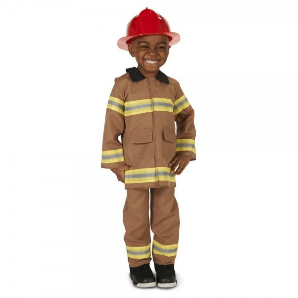 Wee Little Firefighter With Helmet Toddler Costume Tan 2