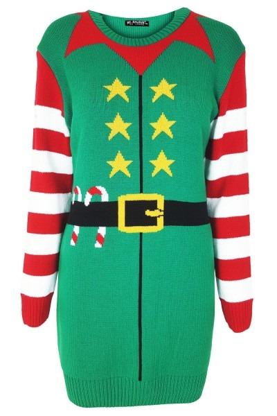 Womens Ladies Christmas Xmas Belt Elf Costume Knitted Jumper
