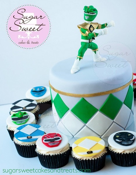 Mighty Morphin Power Ranger Themed Cake And Cupcakes