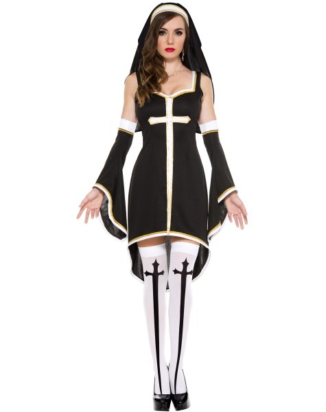 Sexy Nun Costume Adult Women Cosplay Dress With Black Hood For