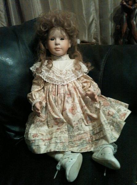 Vintage Porcelain Doll Victorian Dress Toddler Brown Hair ~ Decor