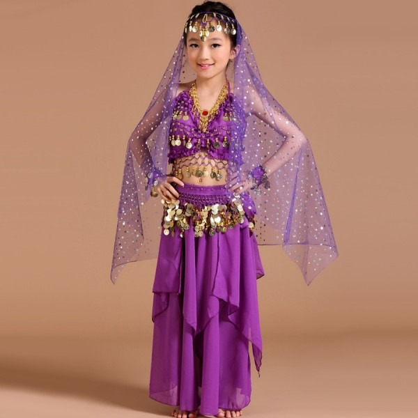 2017 Kids Belly Dance Costumes 5pcs(top+skirt+waist Chain+headwear