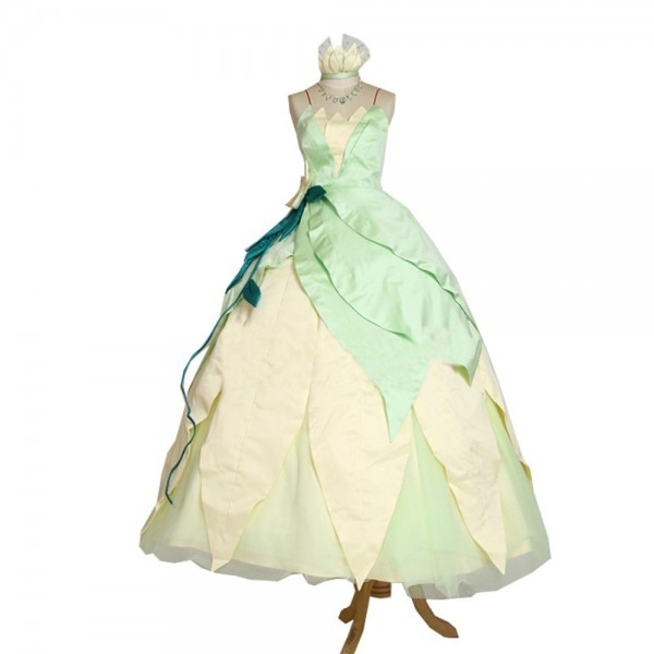 2017 Wedding Party Halloween Cosplay Princess Tiana Dress Adult