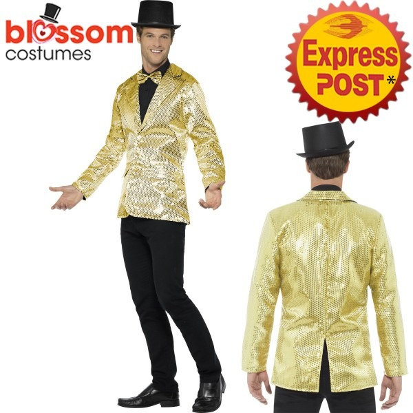 Ca503 Mens Gold Sequins Jacket Stag Night Circus Ringmaster Mardi