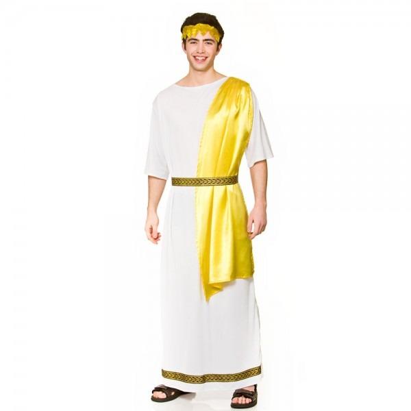 Mens Roman God Ancient Greek Toga Caesar Fancy Dress Costume