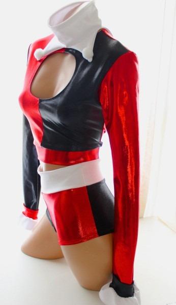 Sugarpuss Harley Quinn Set, Long Sleeve Keyhole Top, High