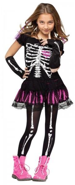 Girls Punk Rocker Skeleton Costume Skull Bones Pink Black Fancy