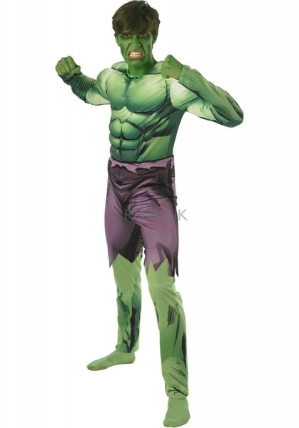 Mens Incredible Hulk Avengers Halloween Fancy Dress Costume