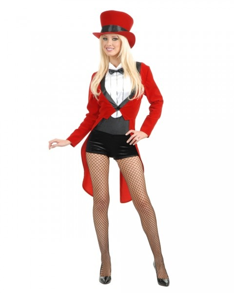 Adult's Womens Circus Sweetie Red Tuxedo Ringmaster Costume