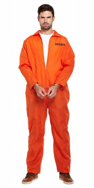 Adults Classic Orange Prisoner Jumpsuit Prison Inmate Fancy Dress