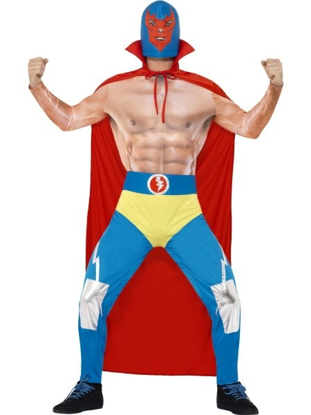 Mens Blue Mexican Wrestler Funny Fancy Dress Costume