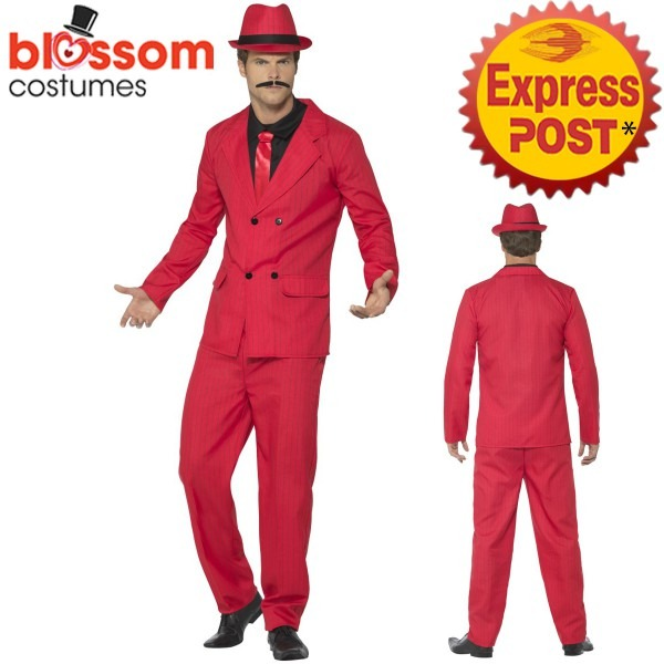 Ca657 Red Zoot Suit Gangster 1920 Mens Pinstripes Gatsby 20s Fancy
