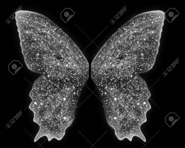 Beautiful Fairy Angel Wings Are In White Sparkles On An Isolated
