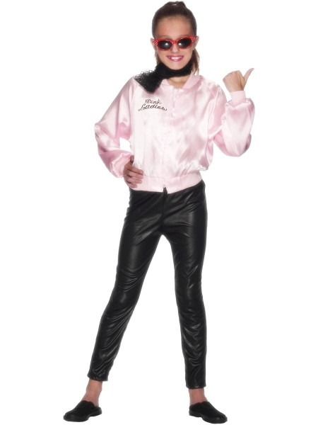 Girls Grease Pink Ladies Jacket Sandy Fancy Dress Costume 50s Kids