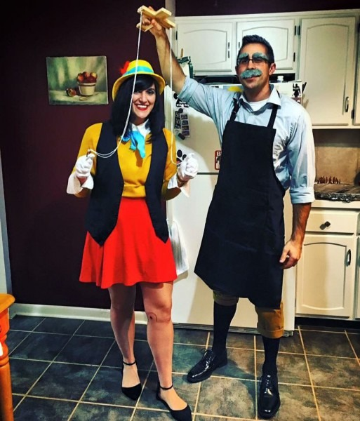 Diy Couples Costume, Pinocchio & Geppetto, Disney Couple Costume