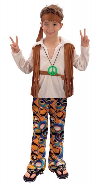 Boys Groovy Hippy Hippie Costume 60s 70s Fancy Dress Book Week
