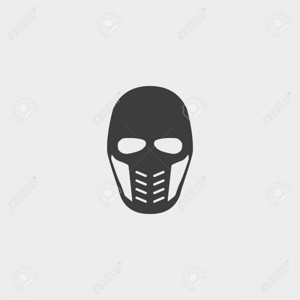 Supervillain Mask Icon In A Flat Design In Black Color  Vector