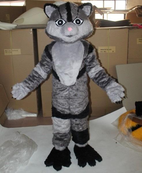 Ebay  Sponsored Gray Furry Cat Mascot Costume Suits Adults Animal