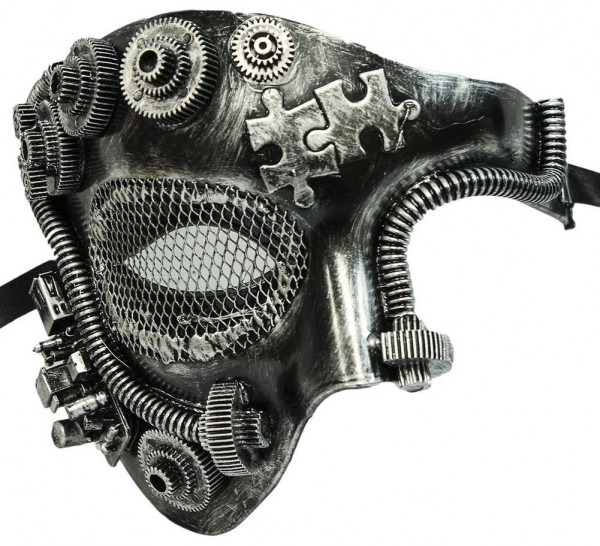 Steampunk Costume Mask Silver One Eye Adult
