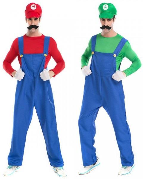 Super Mario Brothers Luigi Mario Mens Costume + Hat