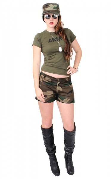 Sexy Army Chick Costume Military Adult Woman Hot Girl Camo