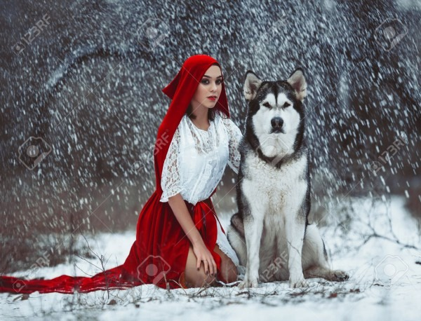 Girl In Costume Little Red Riding Hood With Dog Like A Wolf