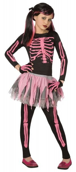 Pink Punk Rockin Skeleton Girl Kids Costume