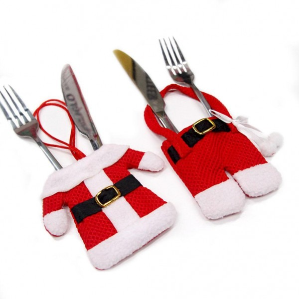 Bag Handmade Santa Suit Clothes Christmas Cutlery Silverware