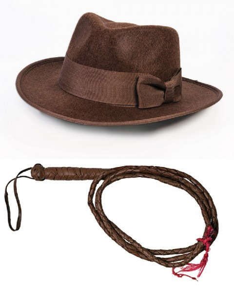 Child Indiana Jones Accessory Set Brown Fedora Hat 6 Foot Whip One
