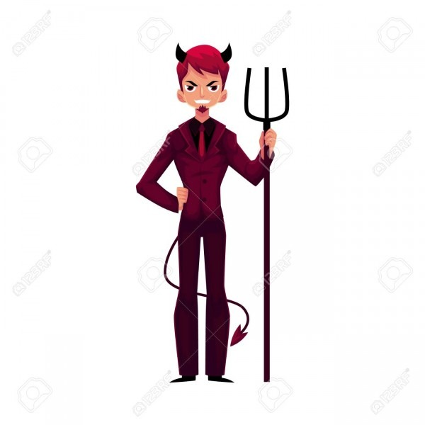 Man Dressed As Devil Devil In Business Suit With Horns, Tail