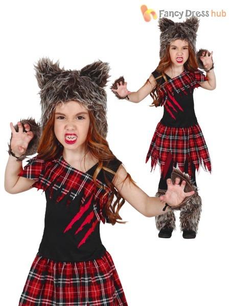 Girls Scottish Wolf Costume Childs Werewolf Halloween Fancy Dress