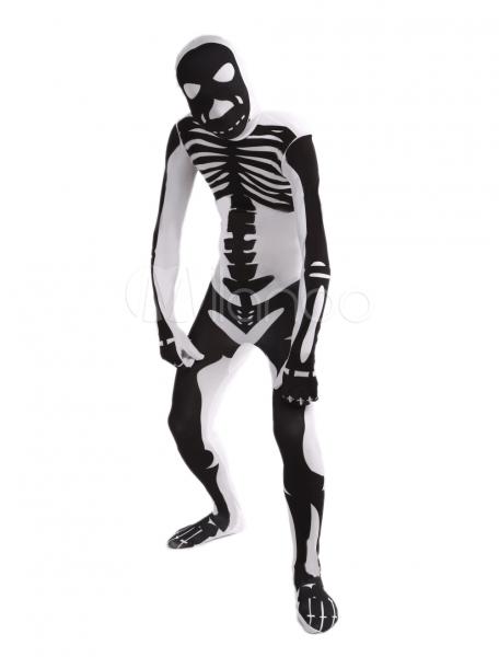 White Human Skeleton Lycra Spandex Unisex Zentai Suit Halloween