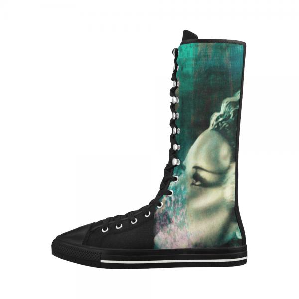 Frankenstein Bride Canvas Long Boots For Women Model 7013h