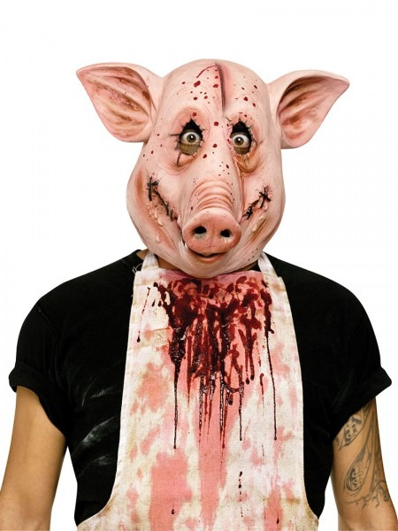 Pyscho Bloody Farm Animal Pig Butcher Latex Mask Adult Costume