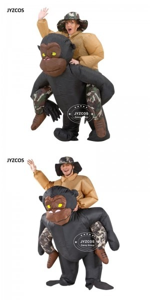 Funny Adult Inflatable Riding Gorilla Costume With Funky Hat King