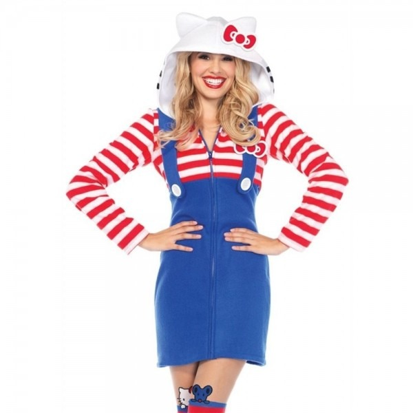 Hello Kitty Cozy Dress Adult Womens Costume, Blue Red, Leg Avenue