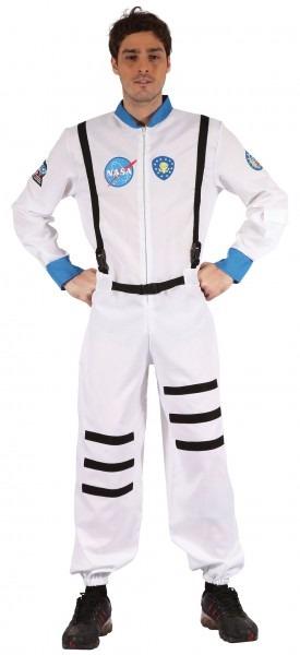 Mens White Astronaut Space Suit Fancy Dress Costume Rocket